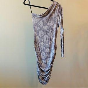 Tart One-Shoulder Snakeskin Dress, Sz S